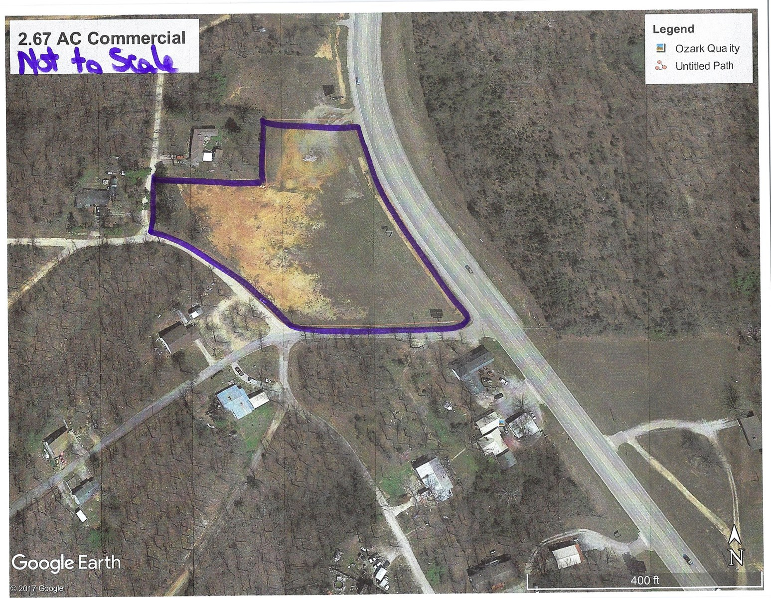 Commercial lot 3 ac m/l for sale, Highland, AR