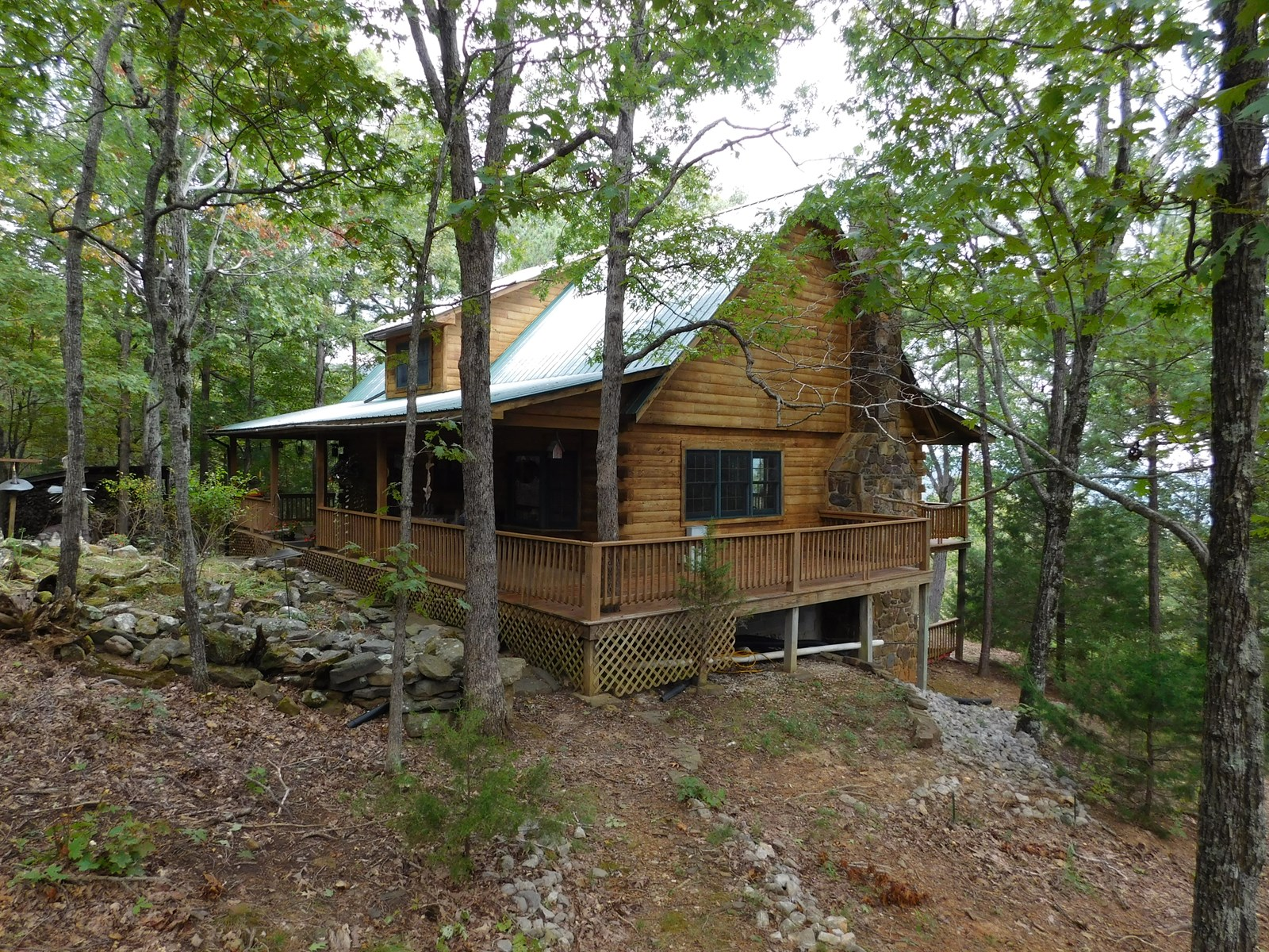 Oak Log Home Bordering Ozark National Forest For Sale