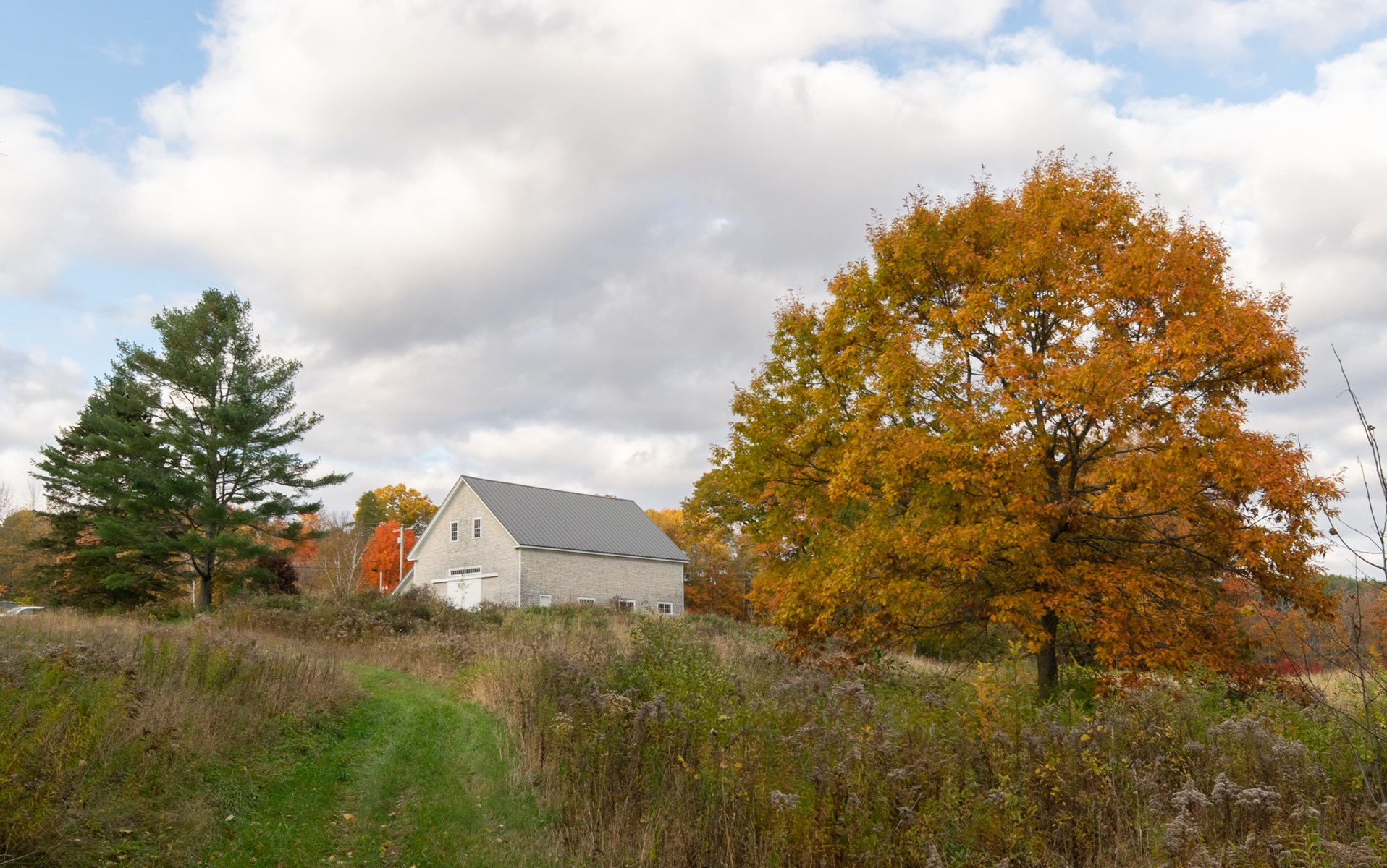 Maine Riverfront Barn with Farm and Timber Land For Sale