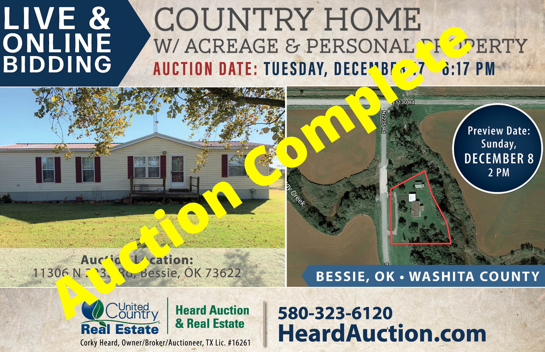 Country Home with Acreage for Sale, Bessie, OK – Washita Co.