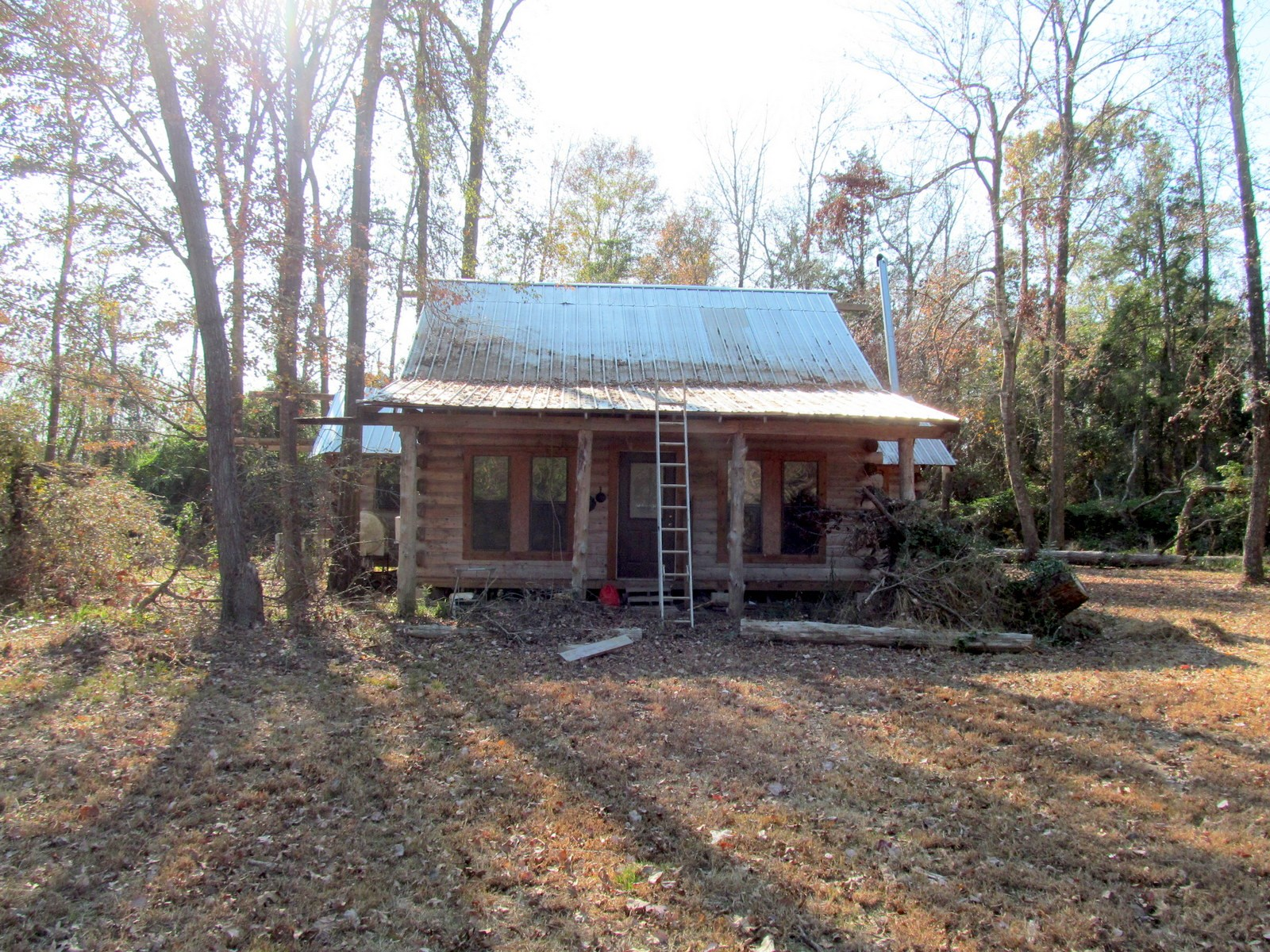 UNFINISHED LOG CABIN - OVER 5 ACRES - EAST TEXAS - WINNSBORO