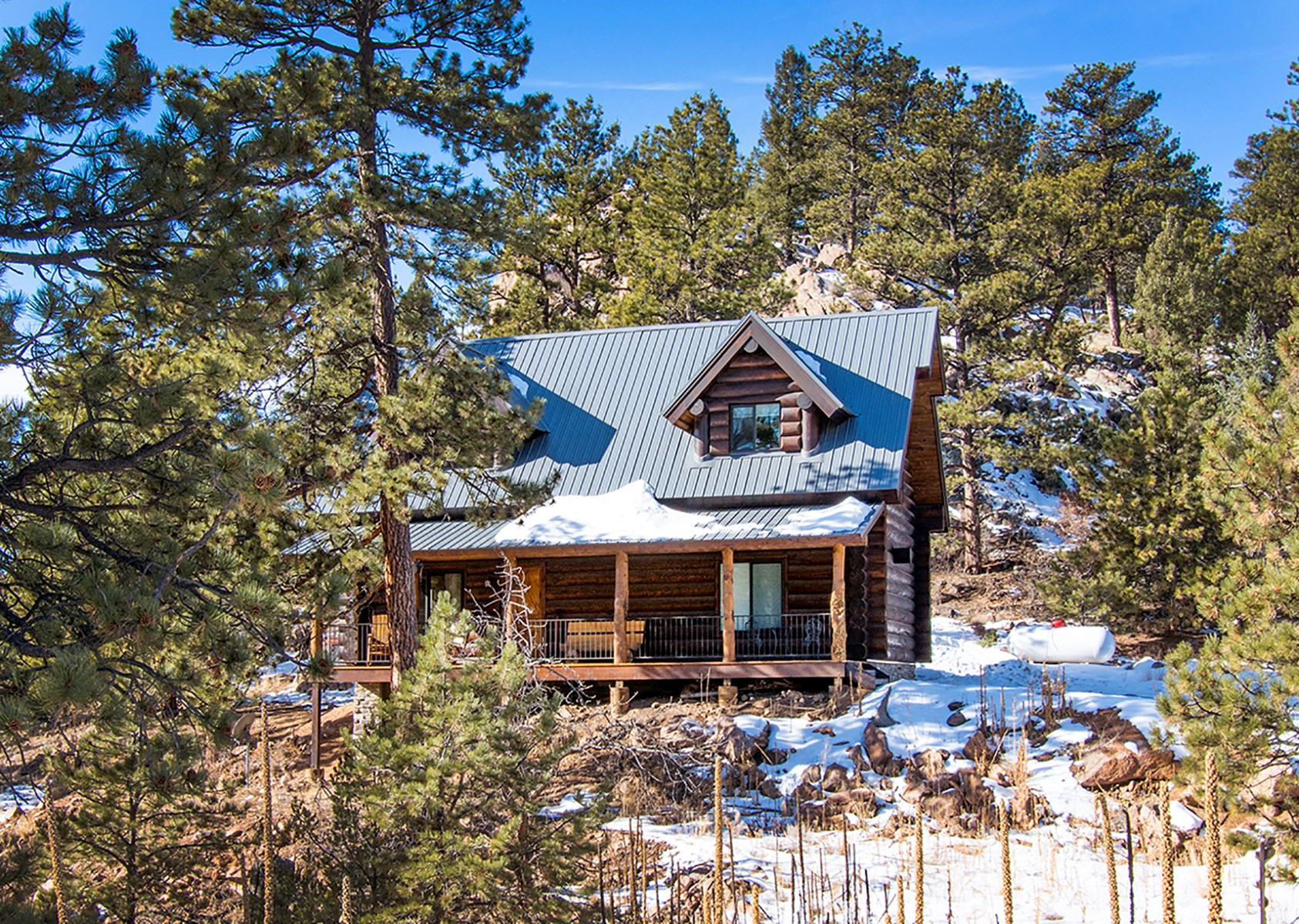 Custom Log Cabin bordering BLM for sale in Florissant, CO