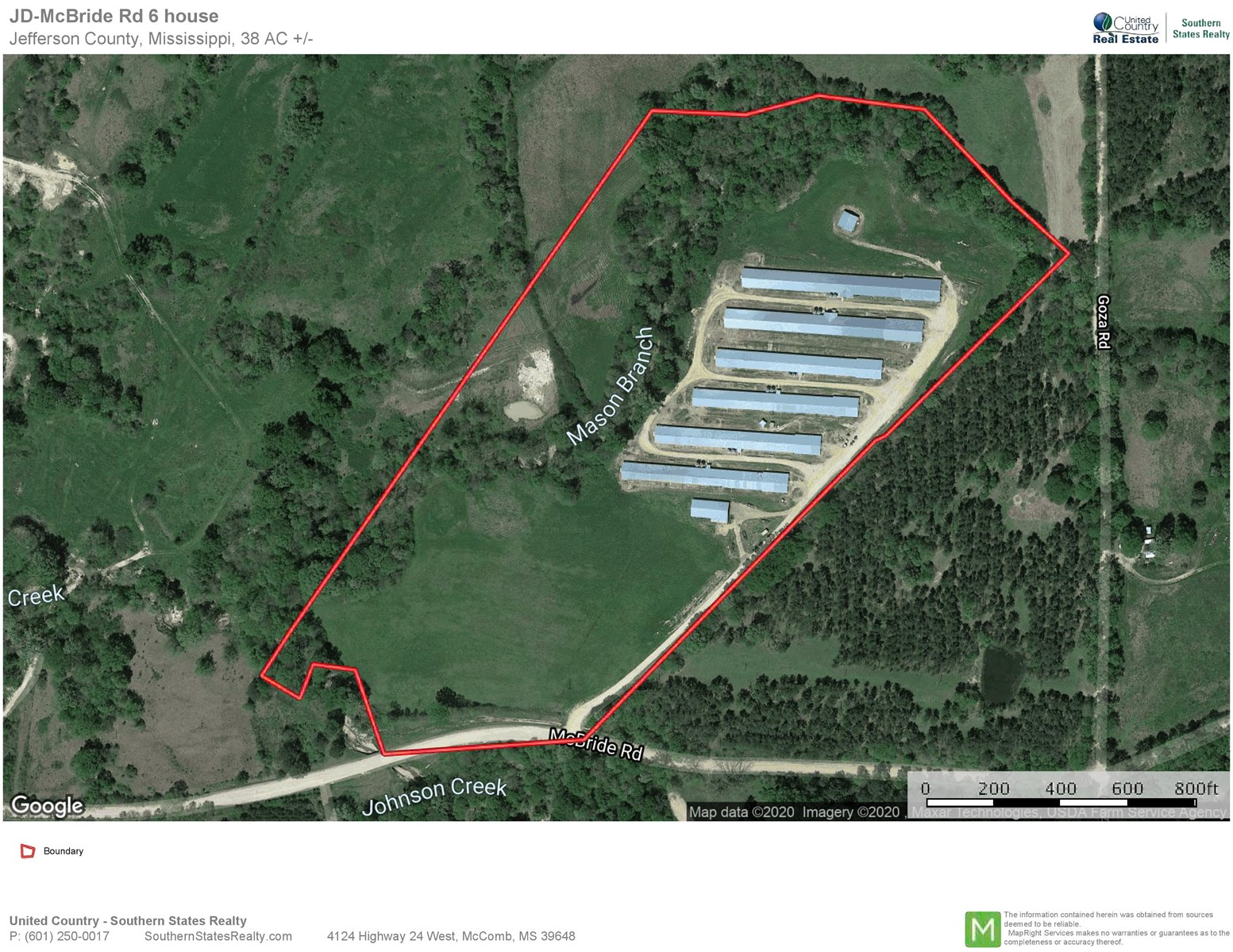 6 House Broiler Poultry Farm 38 Acres Jefferson Co, SW MS