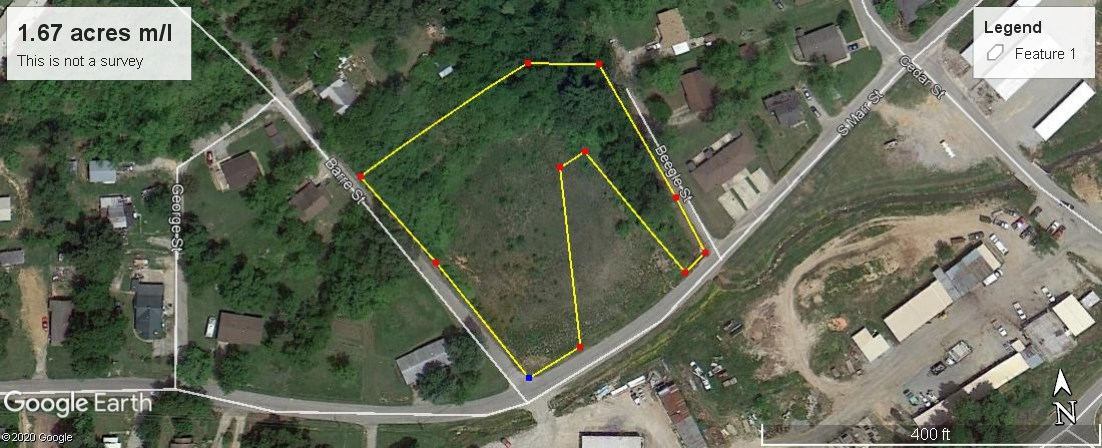 Land for sale in town, 3 city lots, 1.67 ac m/l Pocahontas