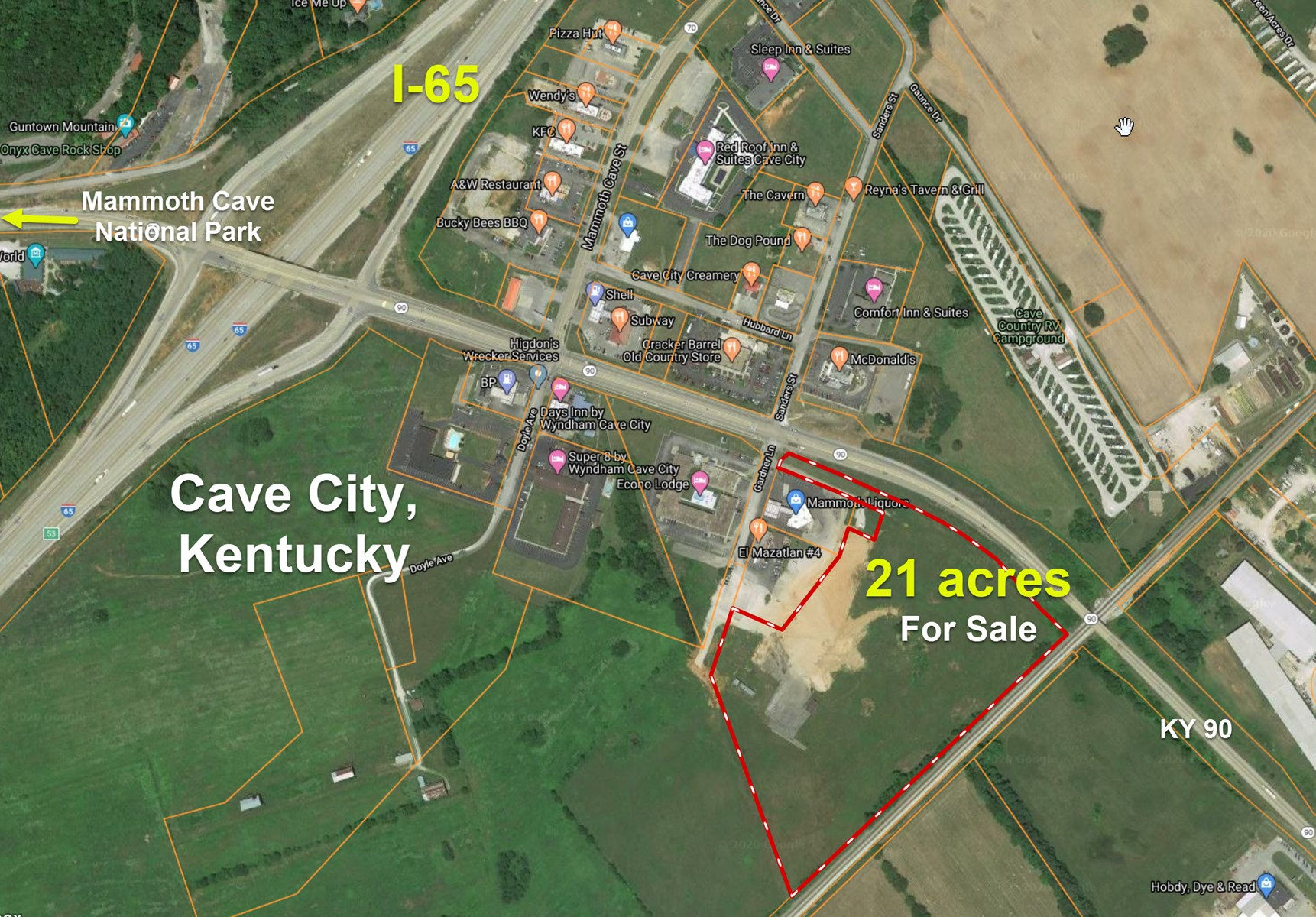 Land for Sale, Opportunity Zone, Cave City KY, Along I-65