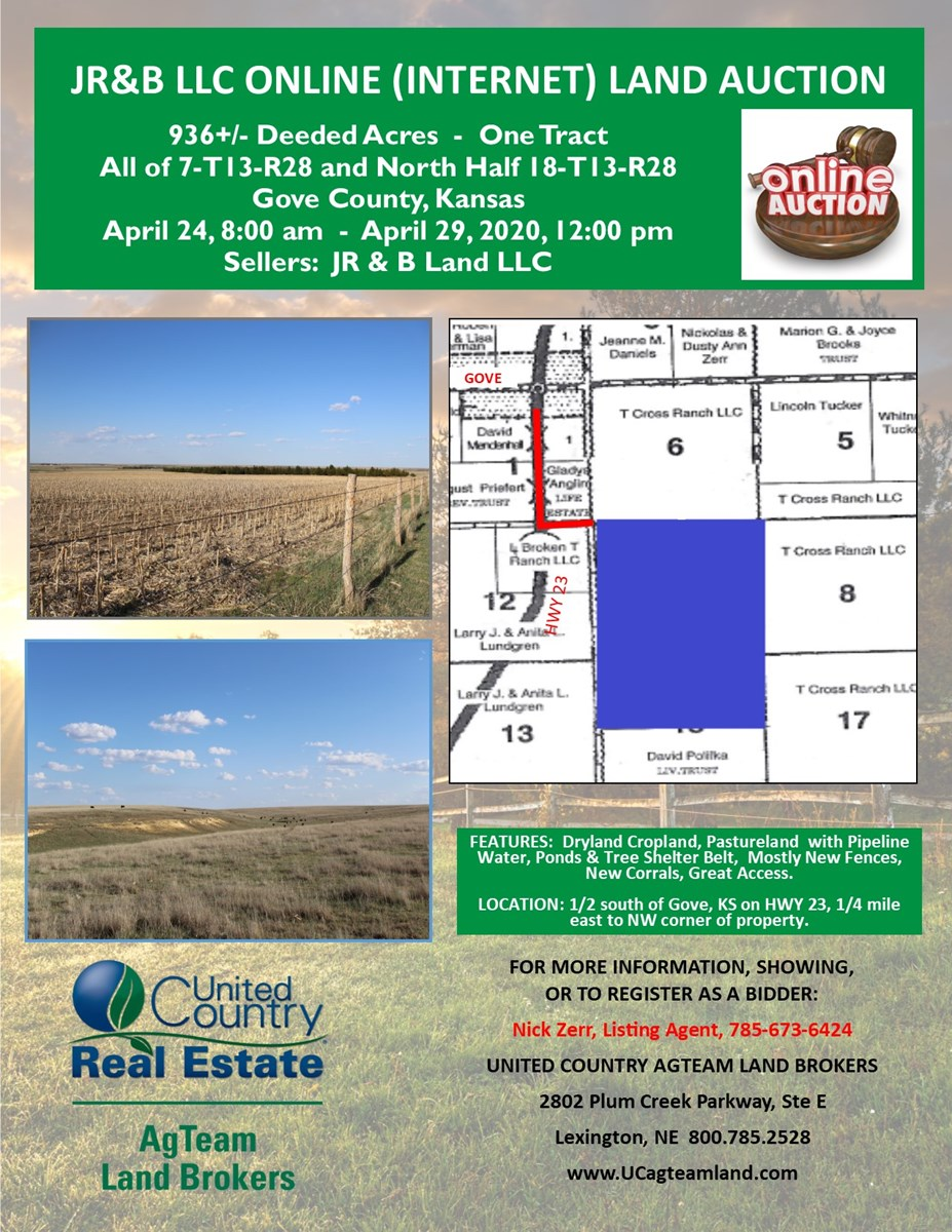 936 Acres Gove County, Kansas Cropland Grass ONLINE AUCTION