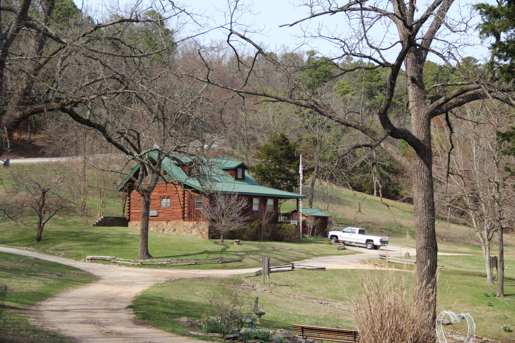 LOG CABIN IN THE OZARK HILLS NEAR EUREKA SPRINGS, AR