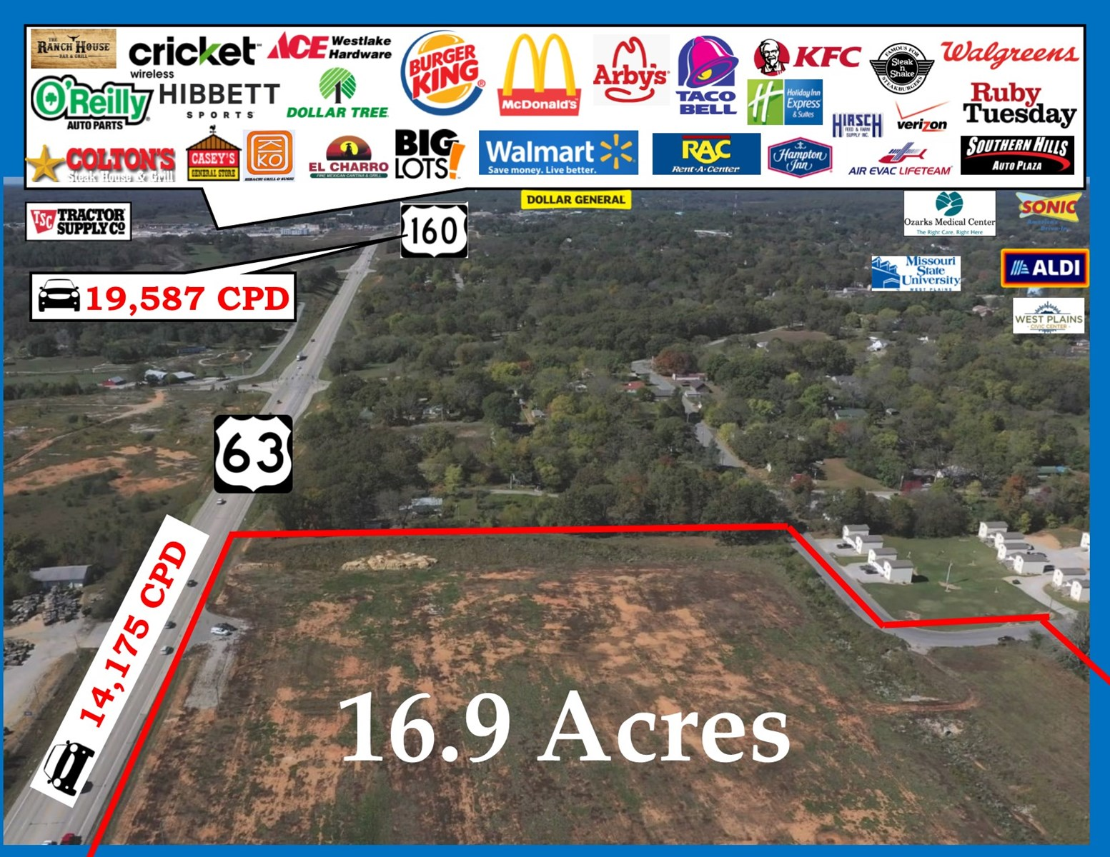 Commercial Land with 950' of  Hwy Frontage, W Plains MO