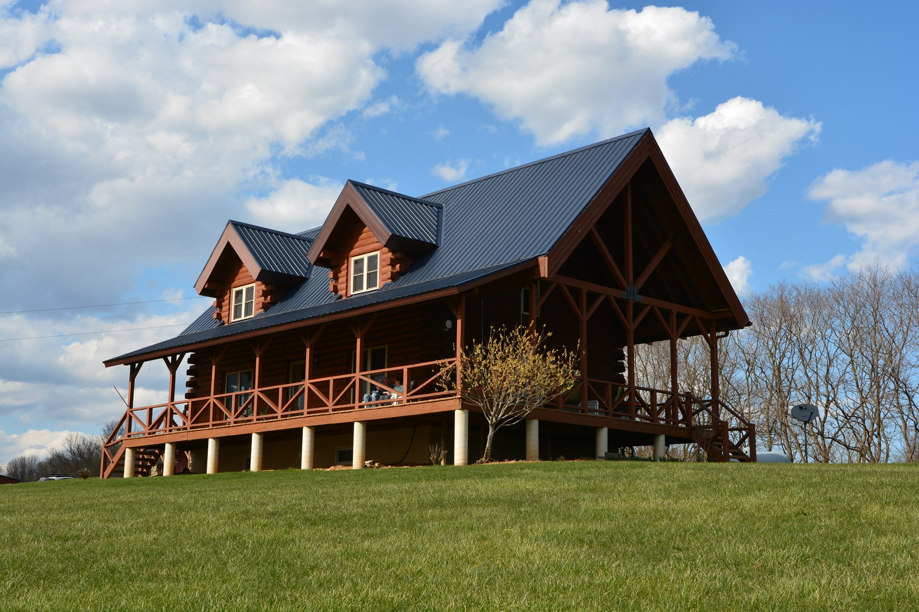 Custom-Designed Amish-Built Log Home on 11 Acres For Sale