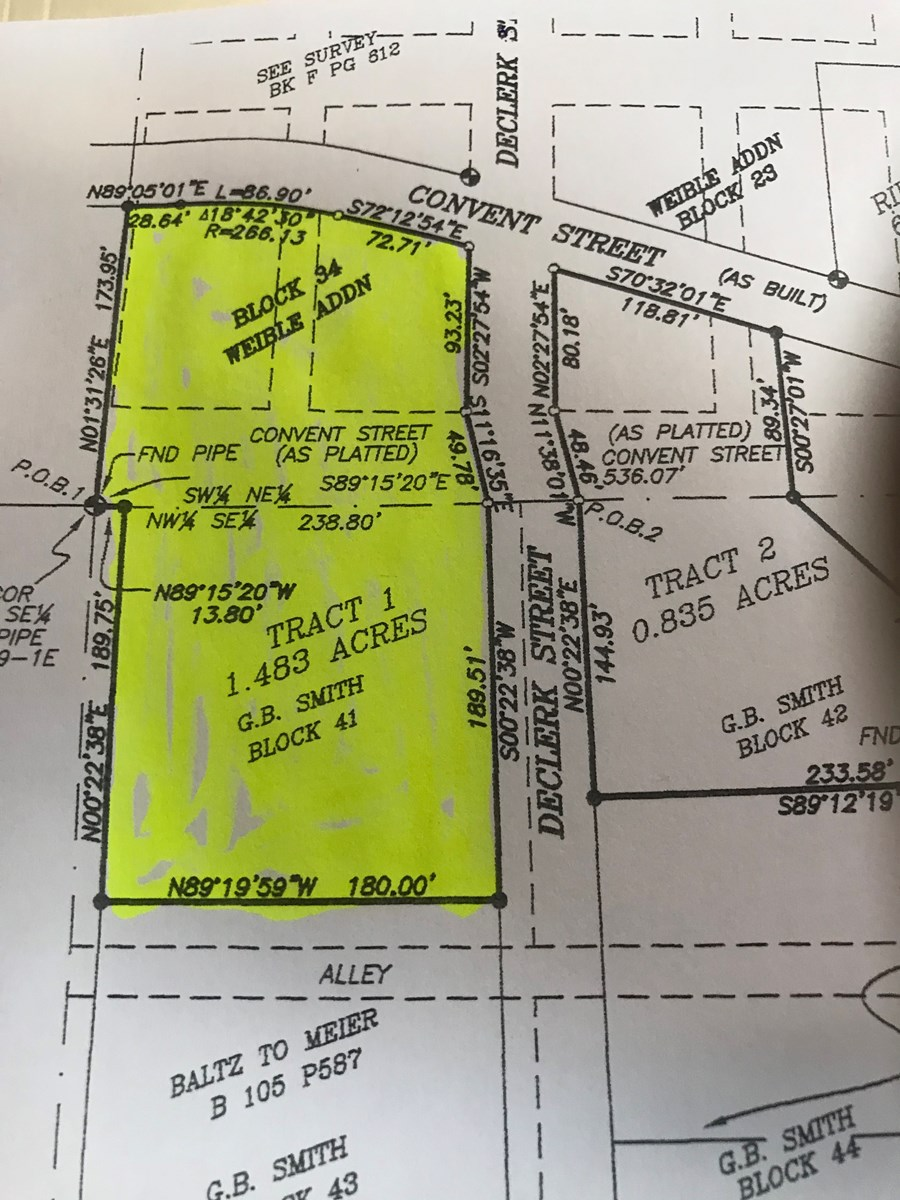Land in town vacant 1.483 acres m/l for sale Pocahontas, AR