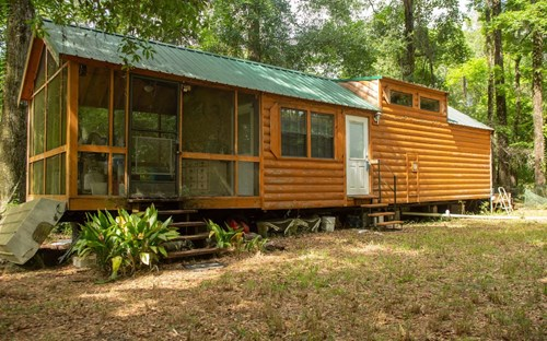 """Really cool park model """"log home"""" on the Suwannee River!"""