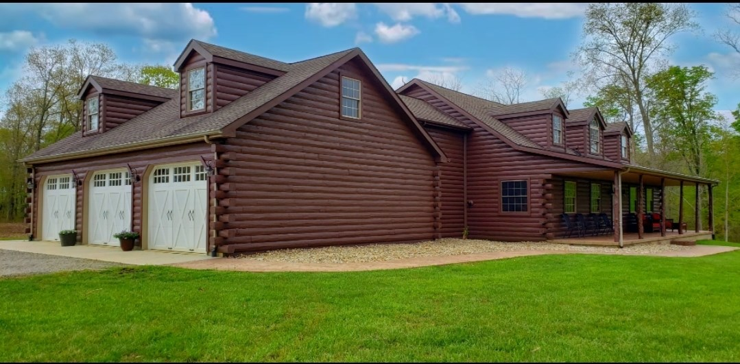 Log Home, Secluded 33 + Flat Acres in Adams County Ohio