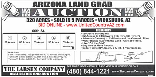320 ACRES IN 5 PARCELS FOR SALE ONLINE AUCTION VICKSBURG AZ