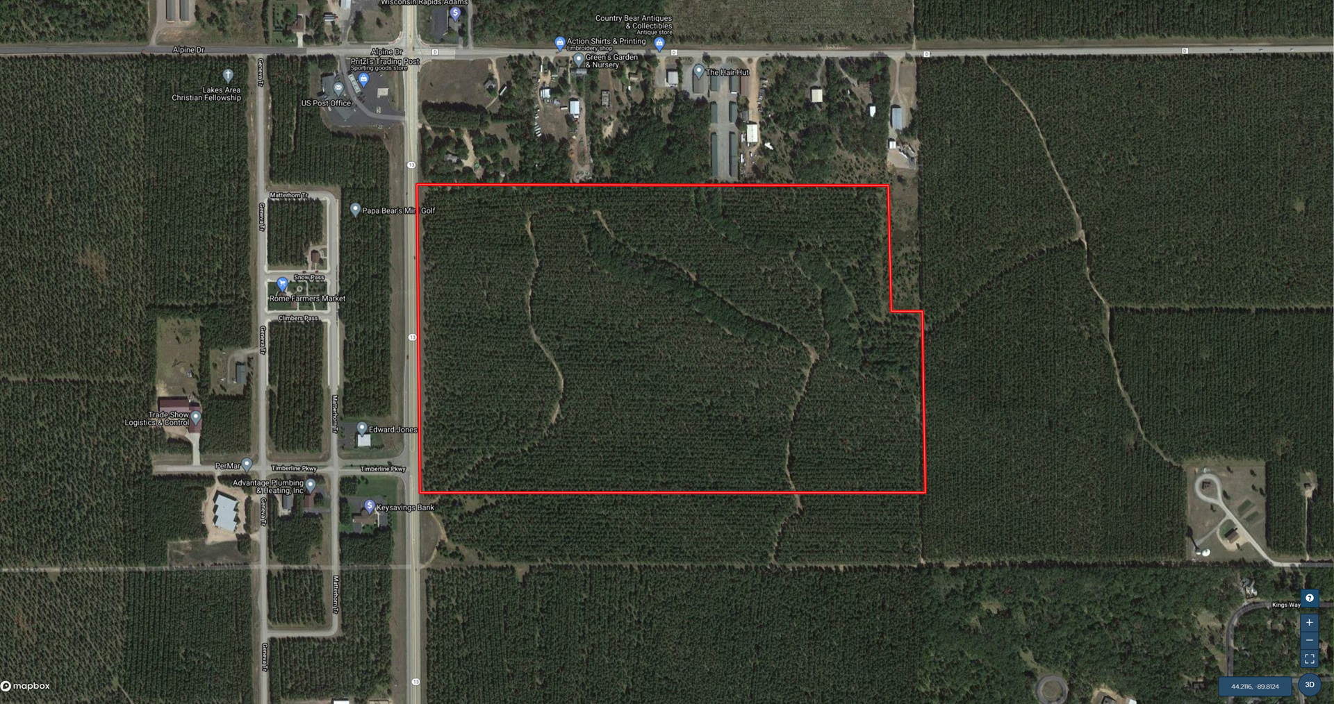 Town of Rome 90 acre timber tract for sale in Adams County W