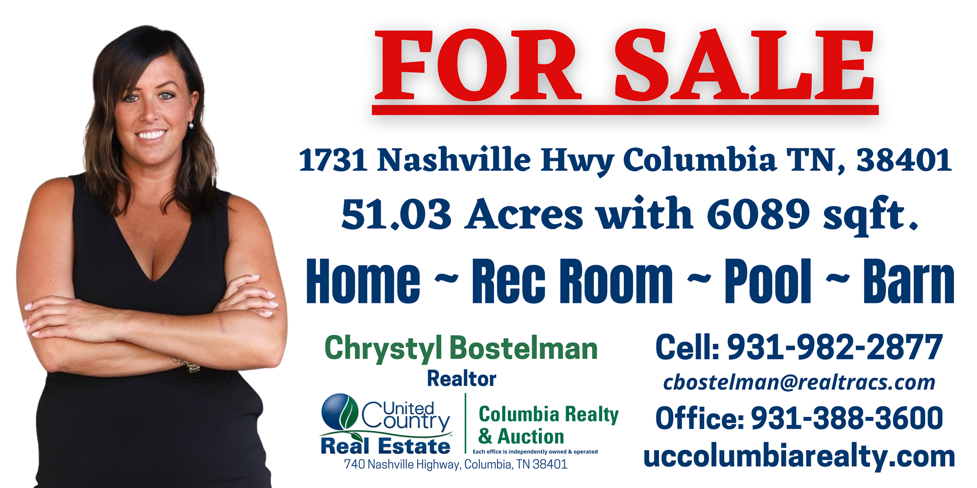 Farm with Acreage for Sale in Columbia, Maury Co. Tennessee