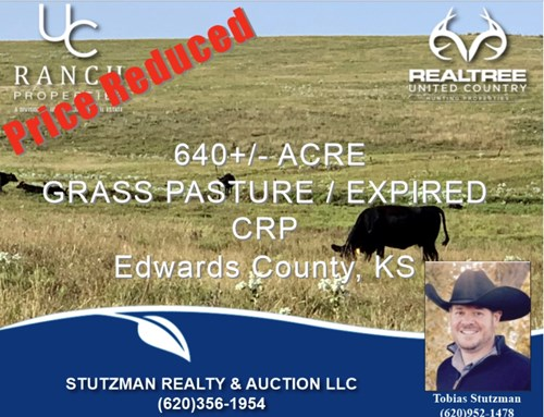 EDWARDS COUNTY KS ~ 640+/- ACRE GRASS PASTURE / EXPIRED CRP