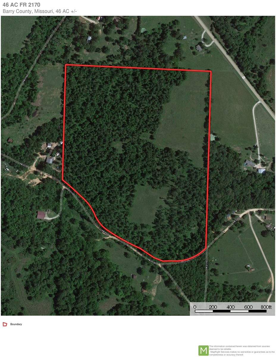 46 Acres Timber/Pasture For Sale in Exeter, Missouri