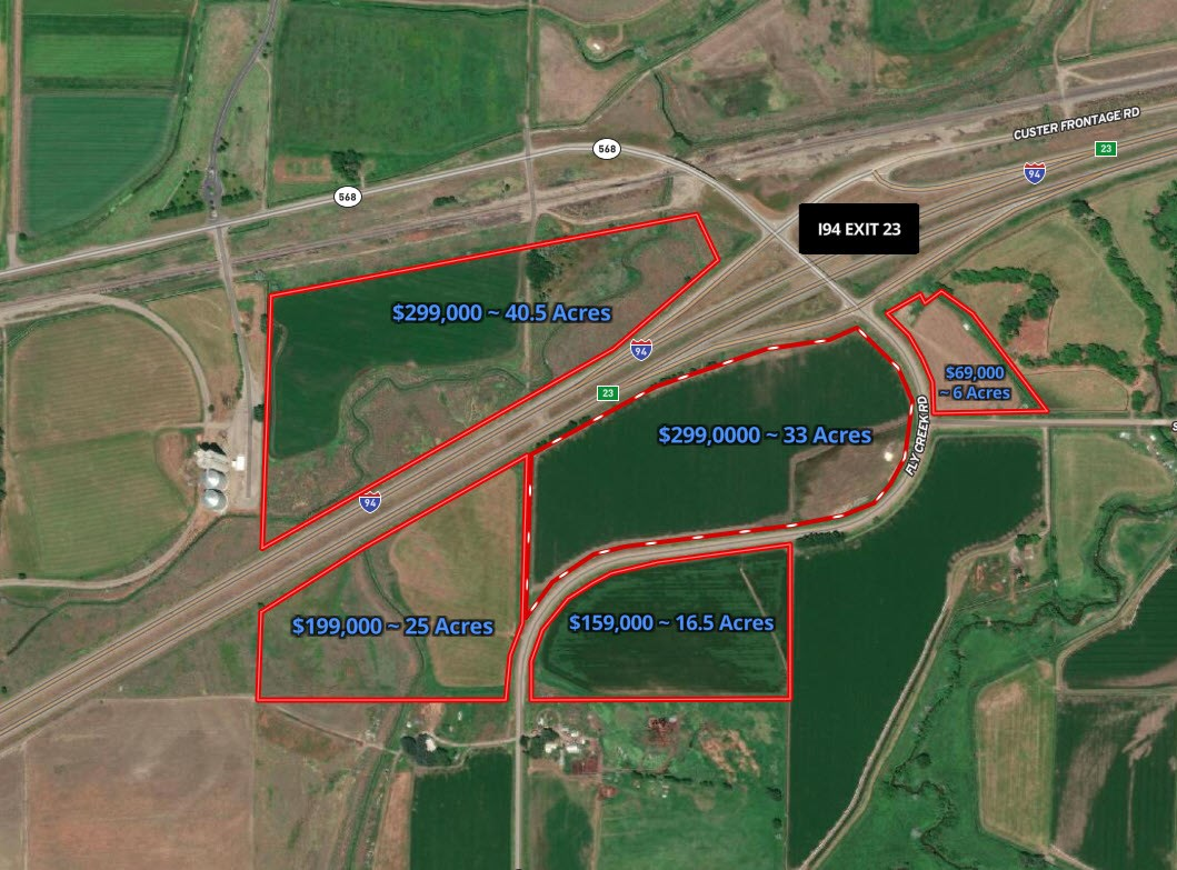 Vacant land Exit 23 Interstate 94 in Montana--5 parcels