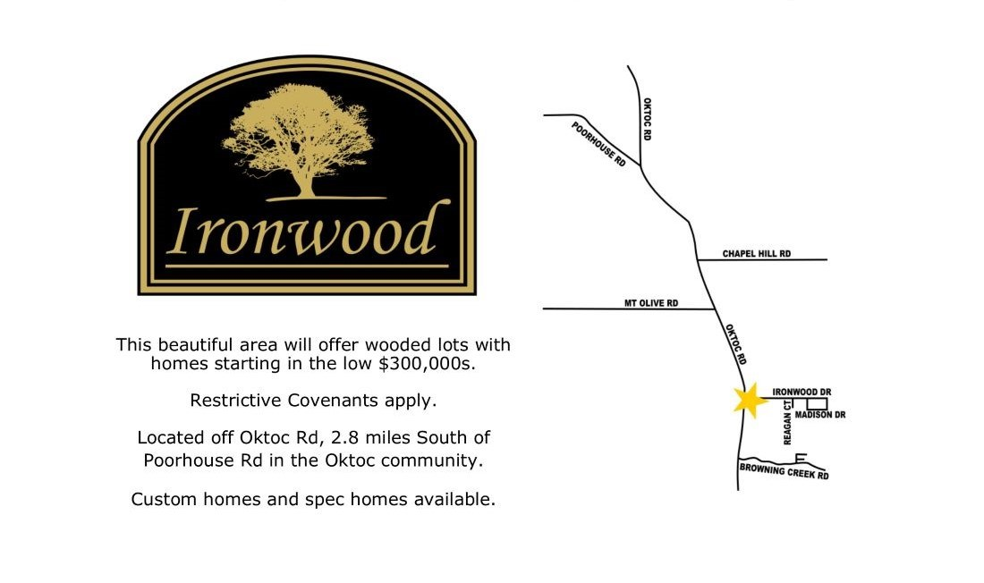LOT FOR SALE IN IRONWOOD SUBDIVISION