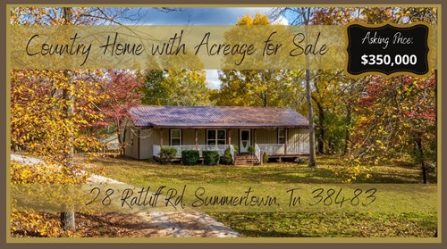 Country Home with Acreage for Sale in Summertown, Tennessee