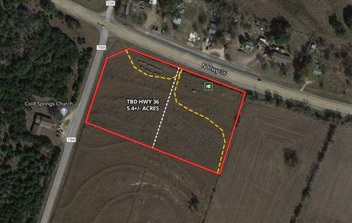 Land for Sale in Central Texas 5.4+/- Acres on Hwy 36