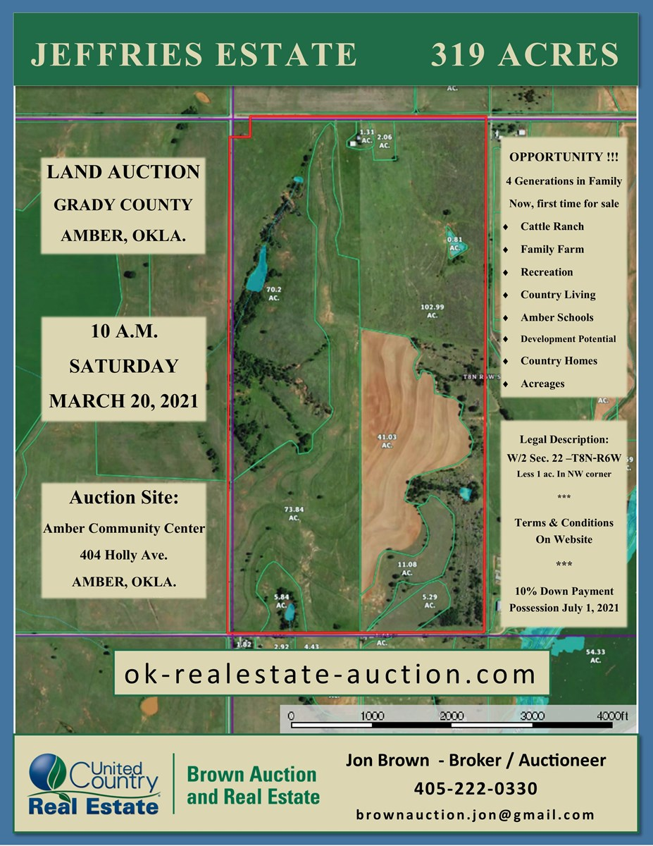 Grady Co. Land Auction - Oklahoma - Farm, Ranch, Development