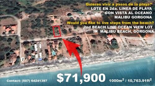 OCEAN VIEW LOT FOR SALE IN MALIBU BEACH GORGONA PANAMA