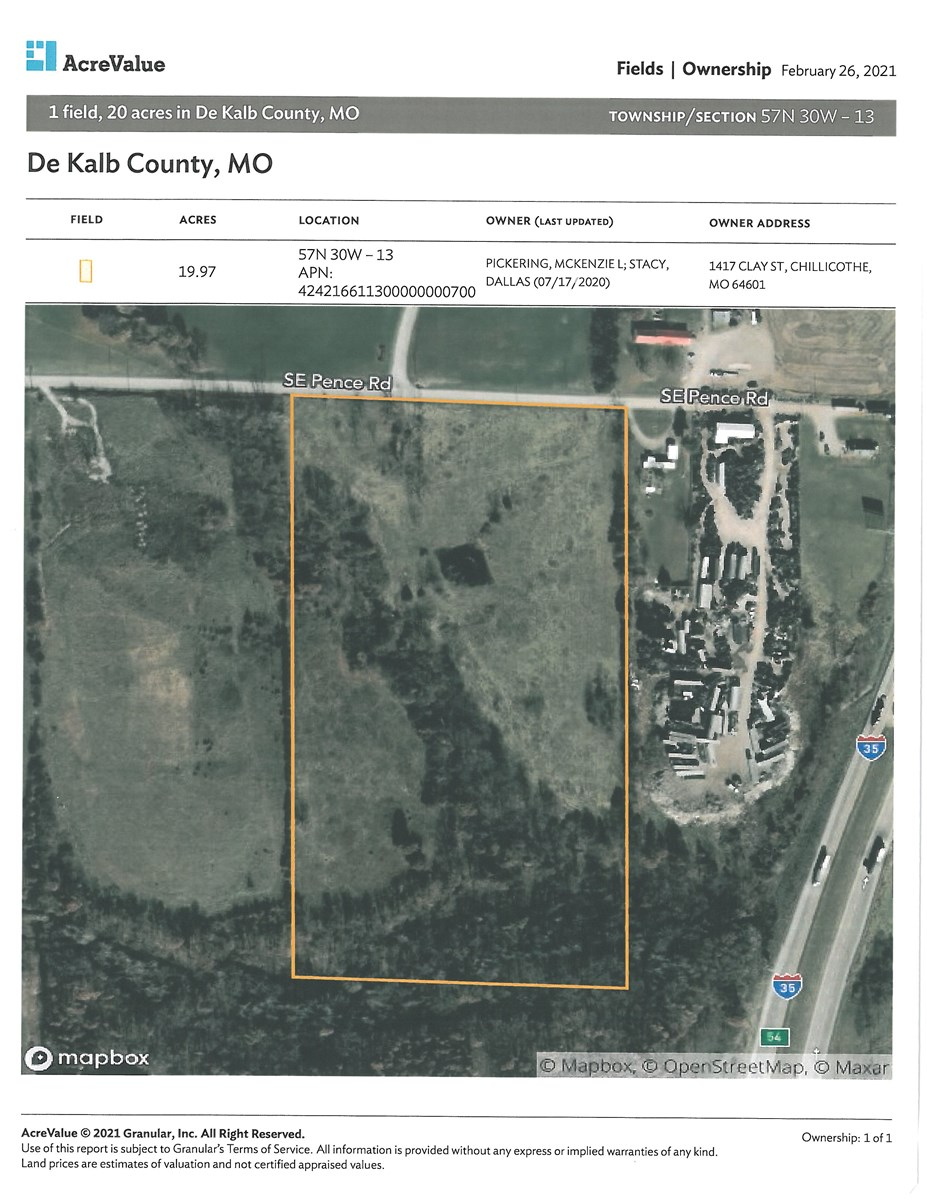 20 ACRES FOR SALE CAMERON MO