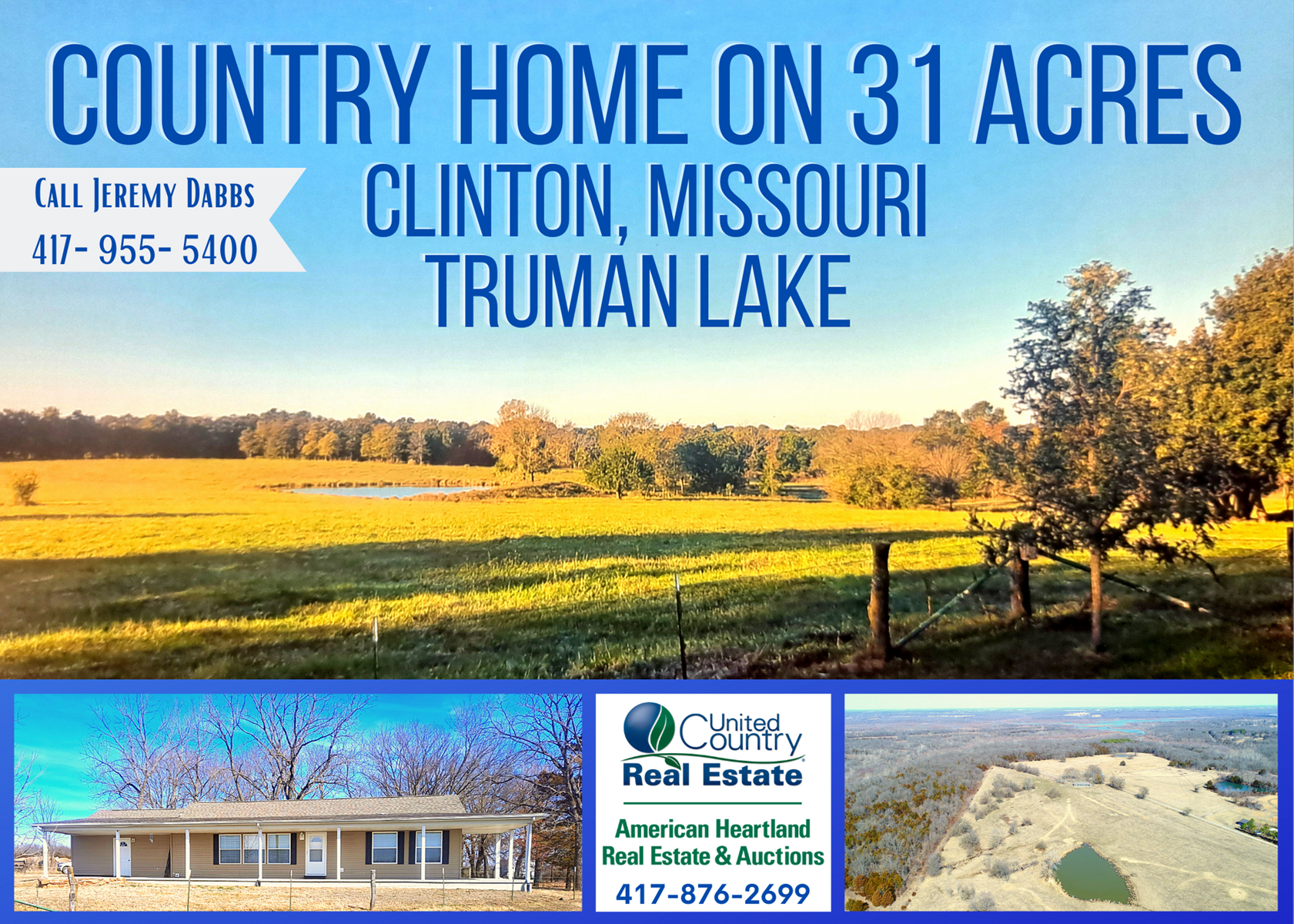 Country Home and Acreage For Sale in Clinton, MO