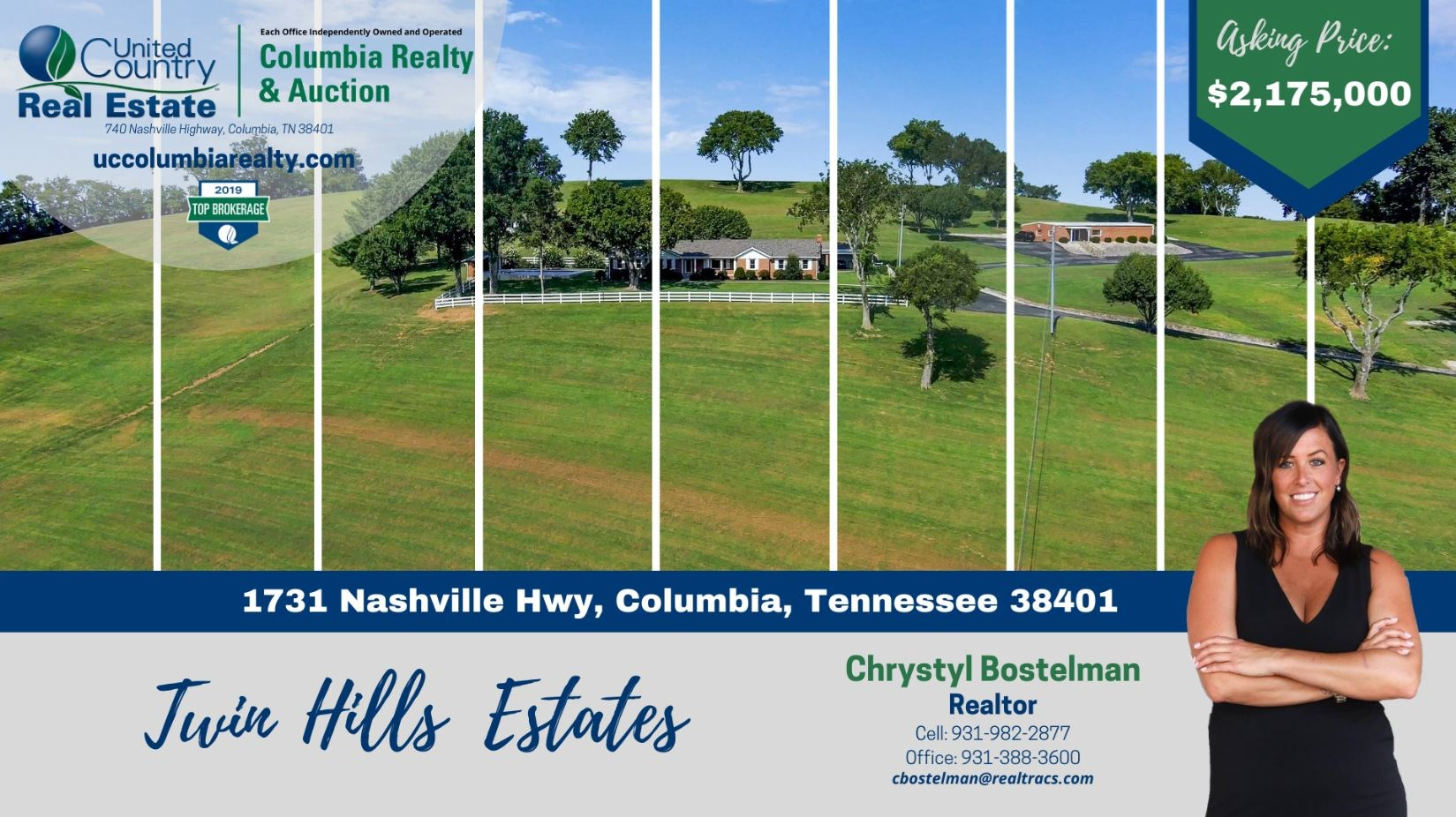 Tennessee Estate with Farm Land & Guest House for Sale