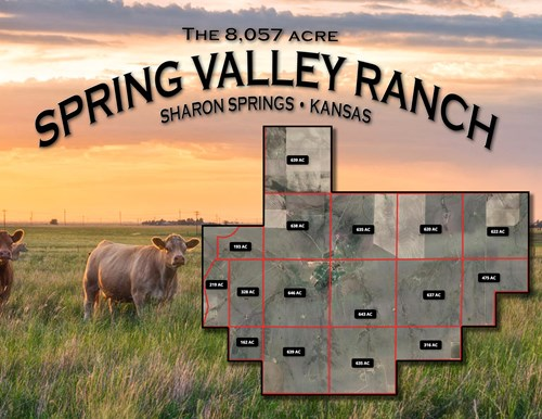 8,057 Acre Kansas Cattle and Farmland Ranch For Sale