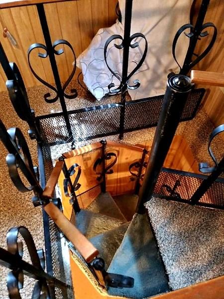 Original hand built spiral stairs