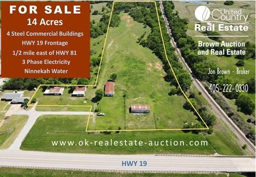 14 Acres -Grady County Oklahoma- 4 Steel Commercial Bldgs