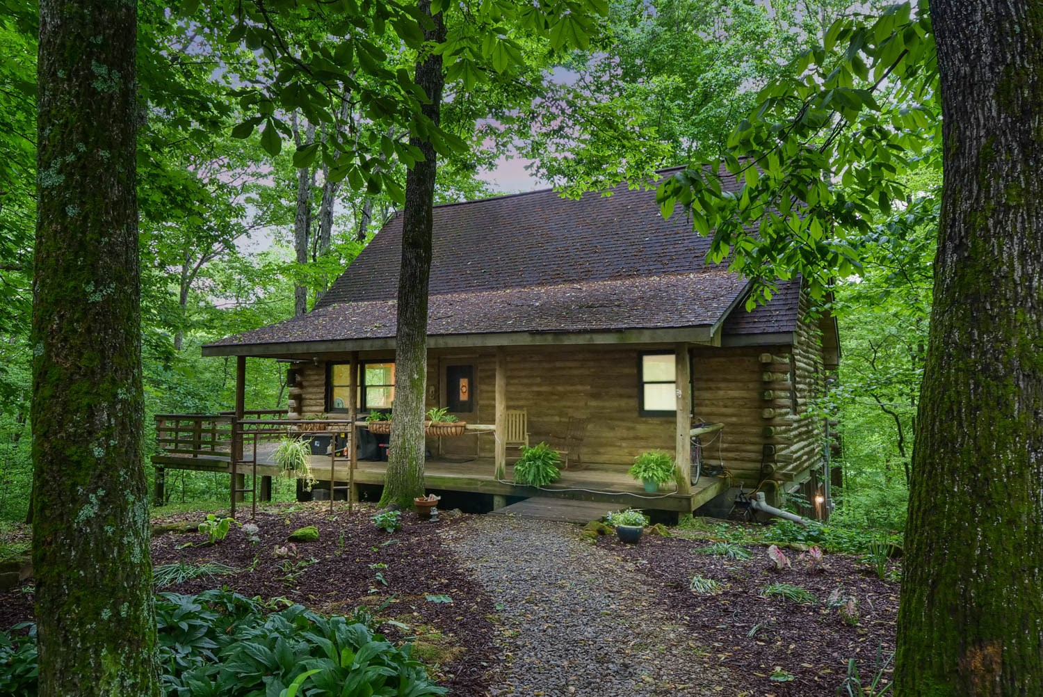 Magical Log Cottage for sale in Middle Tennessee on 21 Acres