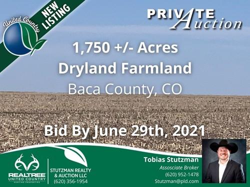 BACA COUNTY, COLORADO ~ 1,750 ACRE FARM ~ PRIVATE AUCTION