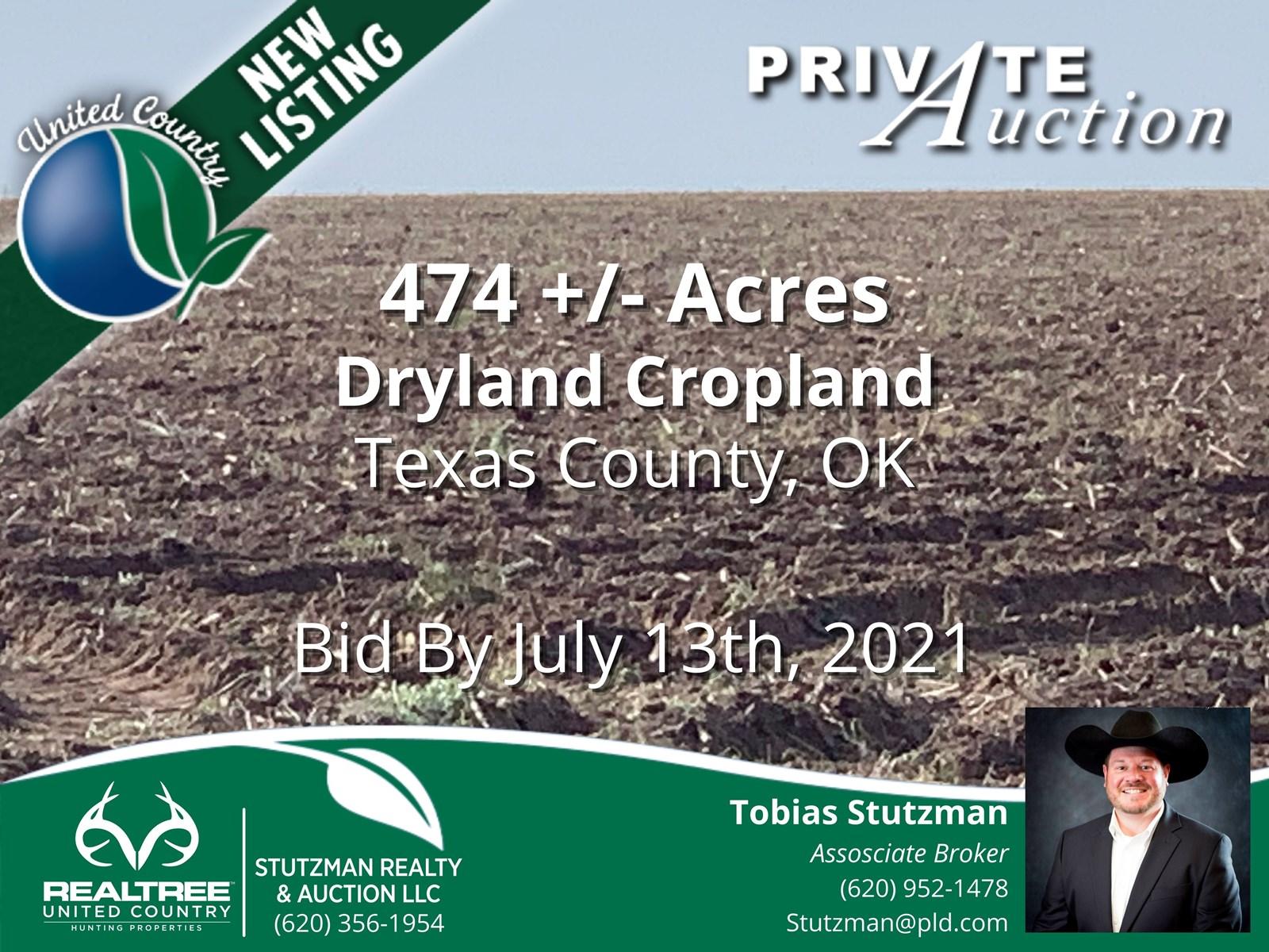 TEXAS COUNTY, OK ~ 474 ACRE FARM ~ PRIVATE AUCTION
