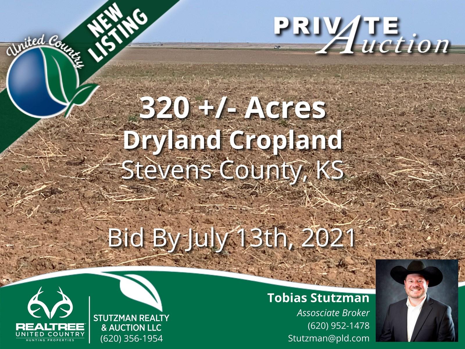 STEVENS COUNTY, KS ~ 320 ACRE FARM ~ PRIVATE AUCTION
