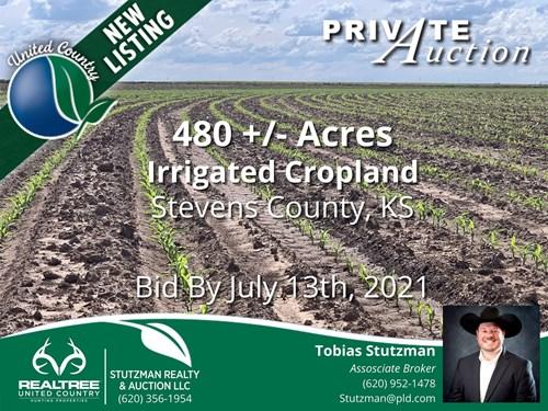STEVENS COUNTY KS - 480 AC IRRIGATED FARM - PRIVATE AUCTION