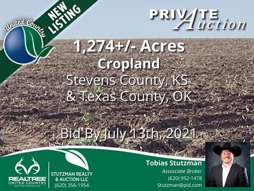 STEVENS CO., KS & TEXAS CO., OK - 1,274 ACRE FARM - AUCTION