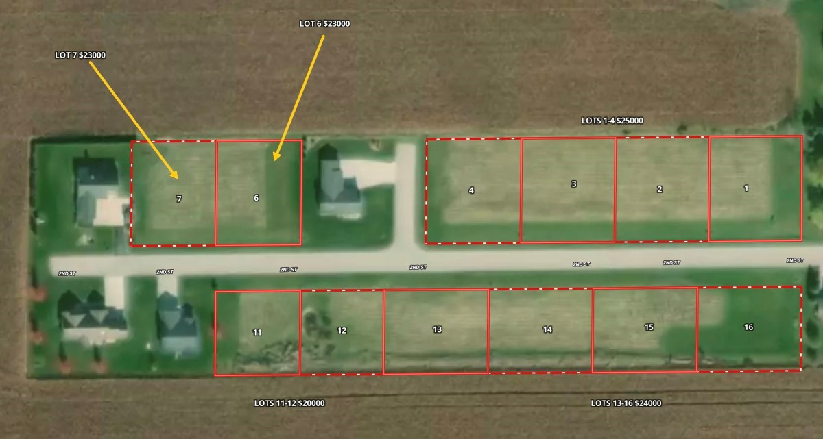 Lot #2 of 12 for sale in the Village of Friesland