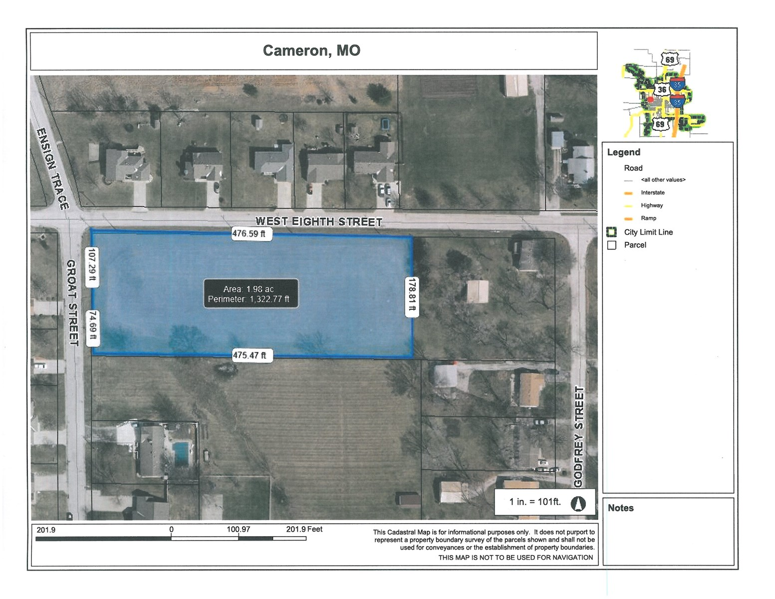 CAMERON MO 2 ACRES ZONED RESIDENTIAL FOR SALE