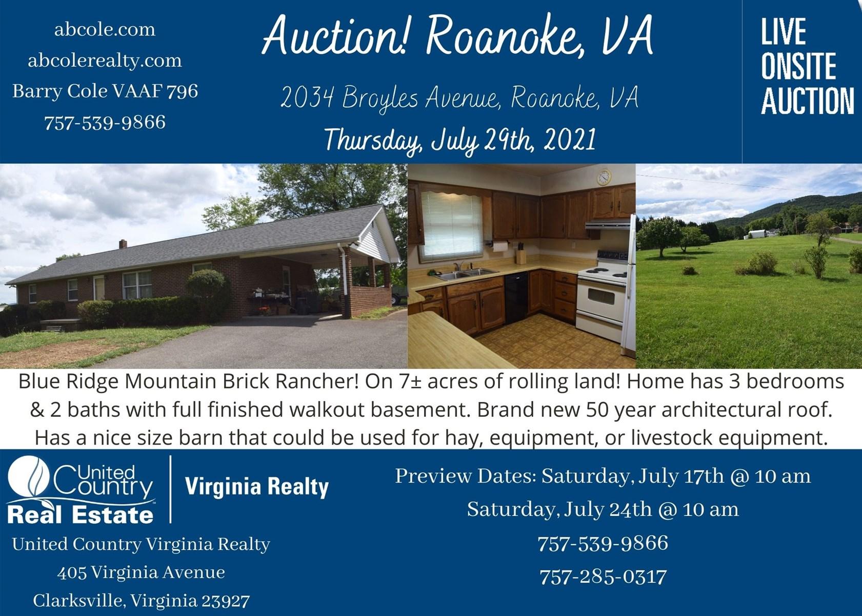 Blue Ridge Mountain Brick Rancher, VA