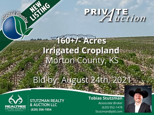 MORTON COUNTY, KS ~ 160 AC IRRIGATED & CRP ~ PRIVATE AUCTION