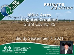 GRANT COUNTY KS ~ 160 ACRE IRRIGATED FARM ~ PRIVATE AUCTION