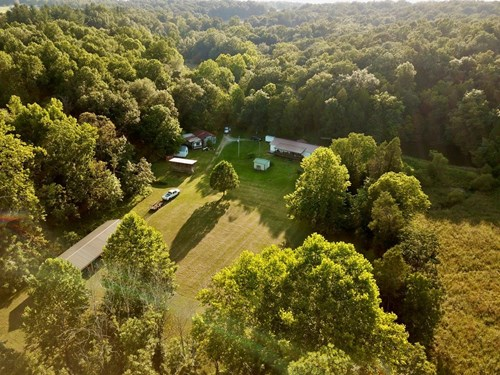 Country Home w/ Pond  & Hunting Land For Sale in Marengo, IN