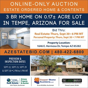 3 BEDROOM TEMPE AZ ESTATE ORDERED HOME AND CONTENTS AUCTION