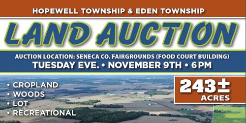 Seneca Co. Land Auction 243 Acres +/- Nov. 9 @ 6 PM