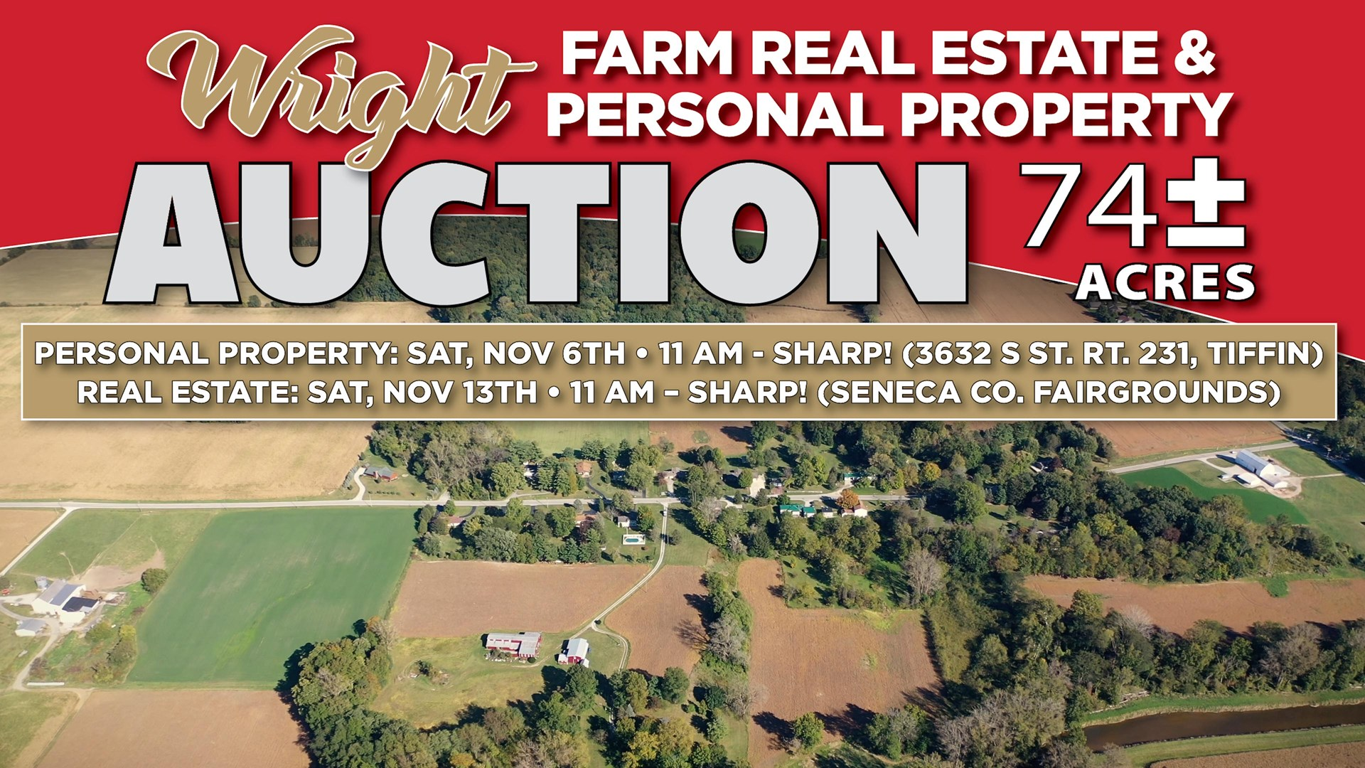 WRIGHT REAL ESTATE AUCTION- Nov. 13th at 11AM