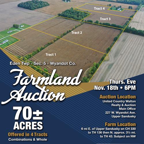 Wyandot County, Ohio Farmland Auction- Nov. 18th at 6PM