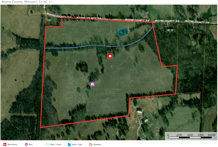 Southeast Missouri Country Home and Land for Sale 53 acres
